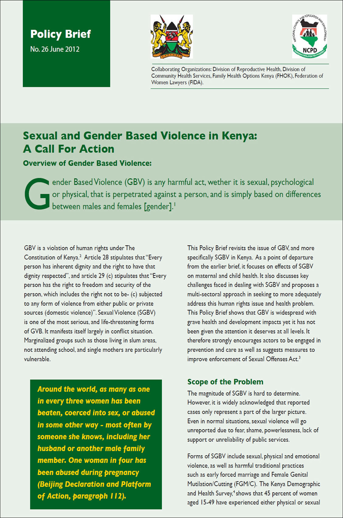 SEXUAL AND GENDER BASED VIOLENCE IN KENYA: A CALL FOR ACTION